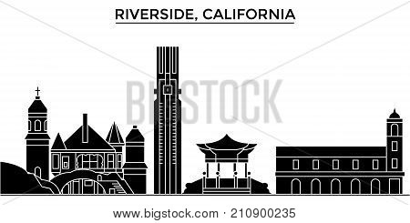 Usa, California , Riverside architecture vector city skyline, black cityscape with landmarks, isolated sights on background
