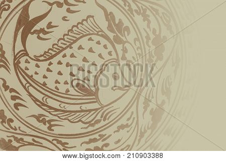 Thai Fish Traditional Painting Art Sukhothai Style For Backgroud With Space For Text
