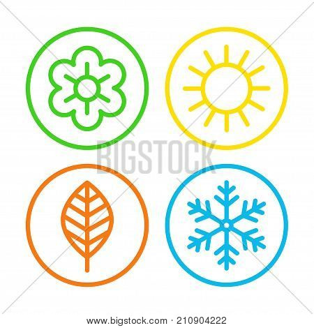 Four seasons icon set. Meteorological and astronomical seasons of spring, summer, fall, autumn, and winter symbols. Vector flat style cartoon illustration isolated on white background