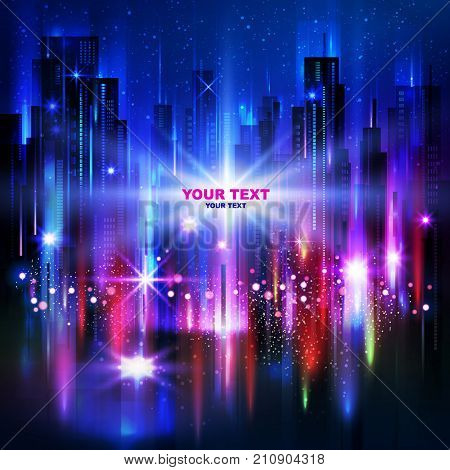 Night city background with glowing lights vector illustration