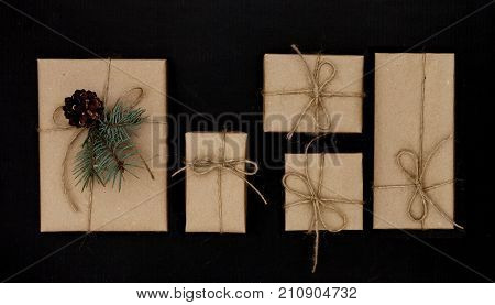 Christmas gift or present boxes on a black background