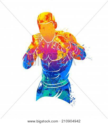 Abstract mixed martial arts fighter from splash of watercolors. Vector illustration of paints.