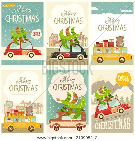 Retro Car with Christmas Tree and Gift Boxes. Xmas Posters Winter Holidays Set. Vector Illustration.