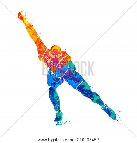 Abstract speed skaters from splash of watercolors. Winter sport. Vector illustration of paints.