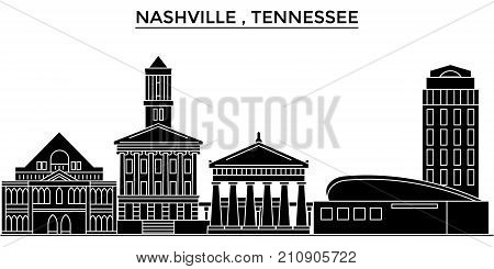 Usa, Nashville , Tennessee architecture vector city skyline, black cityscape with landmarks, isolated sights on background