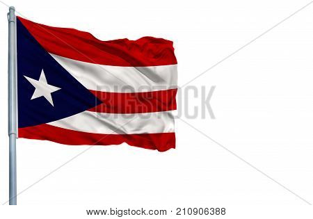 National flag of Puerto Rico on a flagpole, isolated on white background.