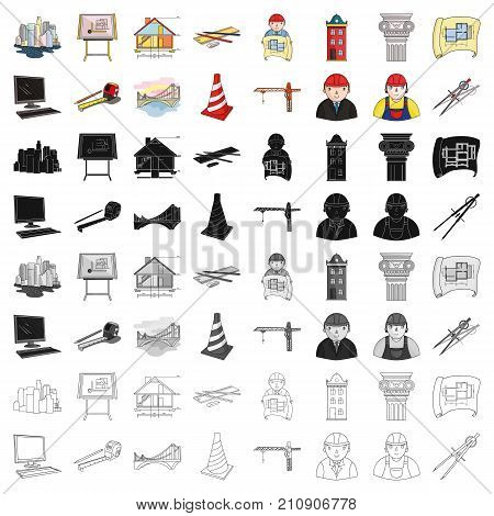 Architect set icons in cartoon design. Big collection of architect vector symbol stock illustration
