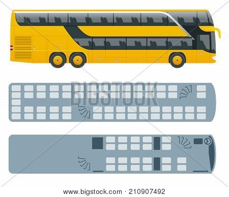 Isometric Double Decker Bus or intercity and plan of seating arrangements. Urban transport. For infographics and design games