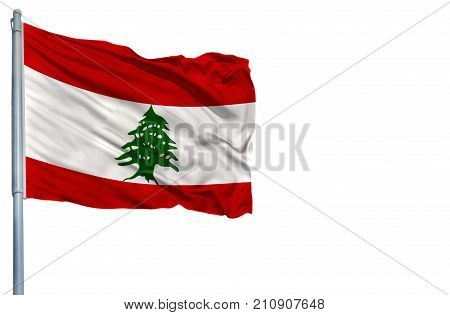 National flag of Lebanon on a flagpole, isolated on white background.