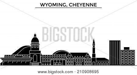 Usa, Wyoming, Cheyenne architecture vector city skyline, black cityscape with landmarks, isolated sights on background