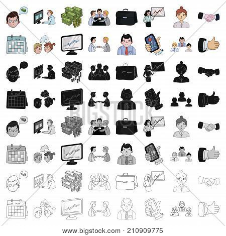 Conference and negetiations set icons in cartoon design. Big collection of conference and negetiations vector symbol stock illustration