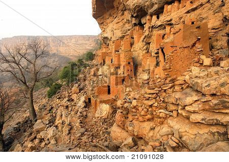 Ancient Dogon and Tellem houses on the Bandiagara escarpment in Mali poster