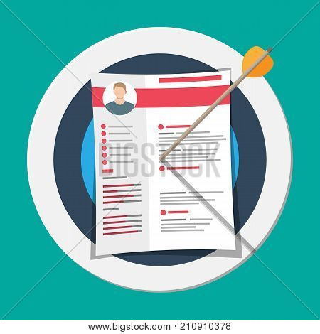 Cv resume documents pinned to target. Human resources management concept, searching professional staff, work. Found right resume. Vector illustration in flat style