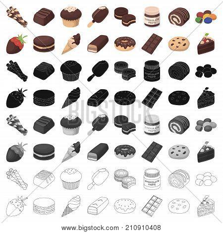 Chocolate desserts set icons in cartoon design. Big collection of chocolate desserts vector symbol stock illustration