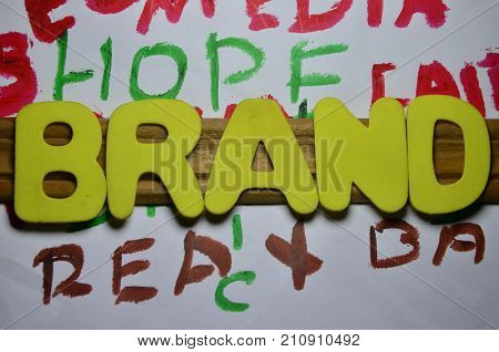 the word brand on a  abstract colorful background