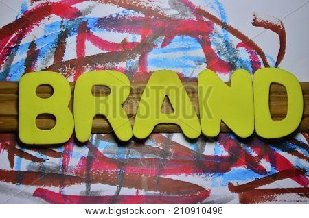 the word brand on abstract colorful background