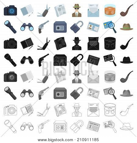 Pistol, tube, identification, magnifier and other attributes. Detective set collection icons in cartoon style vector symbol stock illustration .