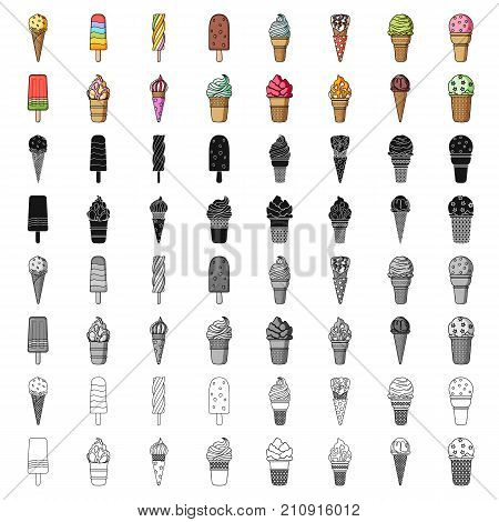 Ice cream set icons in cartoon design. Big collection of ice cream vector symbol stock illustration