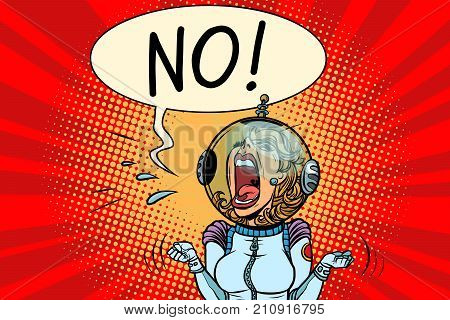 No screaming girl astronaut. Comic book cartoon pop art retro vector illustration drawing