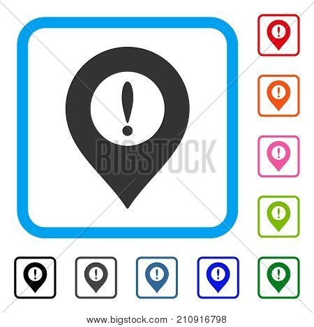 Caution Marker icon. Flat gray pictogram symbol inside a light blue rounded rectangular frame. Black, gray, green, blue, red, orange color additional versions of Caution Marker vector.