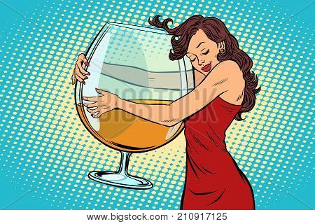 woman hugging a glass of wine. the love for alcohol. Comic book cartoon pop art retro vector illustration drawing
