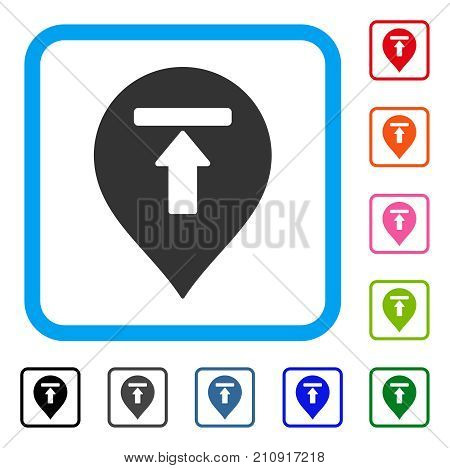Dead End Marker icon. Flat gray iconic symbol in a light blue rounded rectangle. Black, gray, green, blue, red, orange color additional versions of Dead End Marker vector.