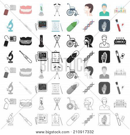 Medicine and hospital set icons in cartoon style. Big collection of medicine and hospital vector symbol stock
