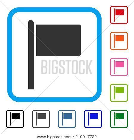 Flag Pointer icon. Flat gray pictogram symbol inside a light blue rounded rectangular frame. Black, gray, green, blue, red, orange color additional versions of Flag Pointer vector.