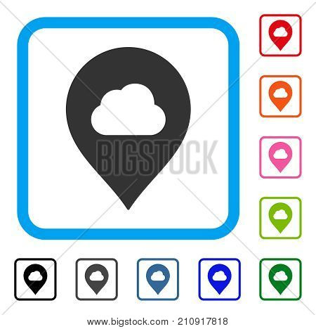Fog Cloud Marker icon. Flat grey iconic symbol inside a light blue rounded squared frame. Black, gray, green, blue, red, orange color additional versions of Fog Cloud Marker vector.