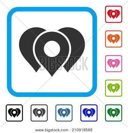 Location Markers icon. Flat grey iconic symbol in a light blue rounded rectangular frame. Black, gray, green, blue, red, orange color variants of Location Markers vector.