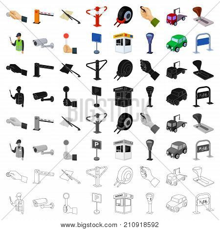 Parking zone set icons in cartoon design. Big collection of parking zone vector symbol stock illustrationCar
