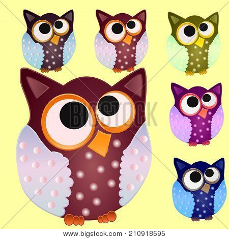 Set Of Six Brown Owl With Blue Wings In Speckled And Centered Eyes