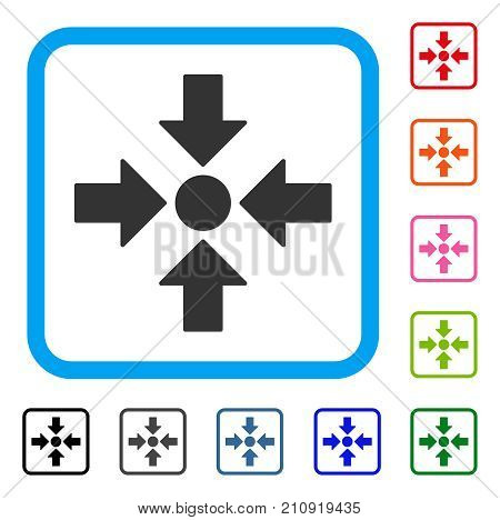Meeting Point icon. Flat gray pictogram symbol inside a light blue rounded squared frame. Black, gray, green, blue, red, orange color additional versions of Meeting Point vector.