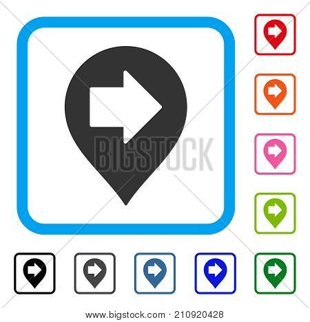 Right Arrow Marker icon. Flat grey pictogram symbol inside a light blue rounded frame. Black, gray, green, blue, red, orange color variants of Right Arrow Marker vector. Designed for web and app UI.