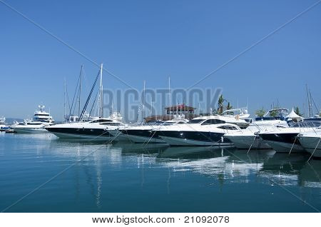 A Line Of Cruisers Berthed In Gibraltar Marina