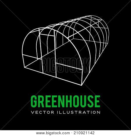 Greenhouse construction frame. Hothouse building object. Warm house Vect illustration. Glasshouse concept image