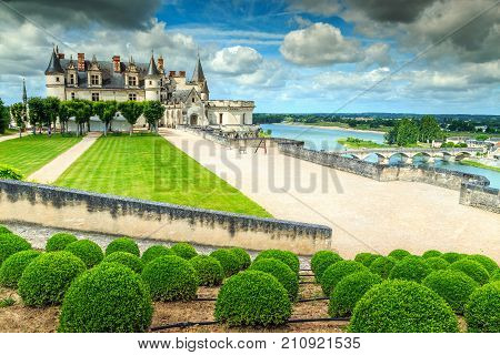 Stunning ornamental garden of Amboise castle in the Loire Valley, France, Europe