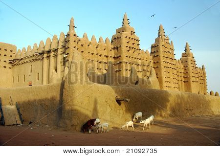Goats and sheep walking past the Djenne mud mosque in Mali poster
