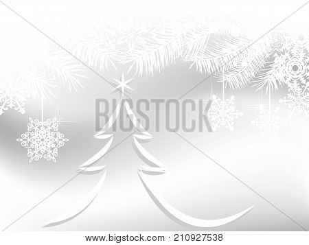 Abstract winter background with simple tree and snowflakes