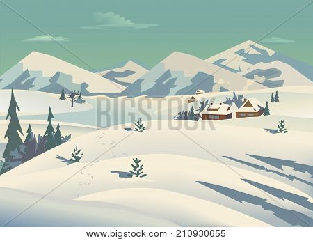 Winter nature landscape. Mountain river in snowy glacier valley. Houses on bank under snow. Lake view among hills forest. Countryside rural scene background. Cartoon outdoors vector Illustration
