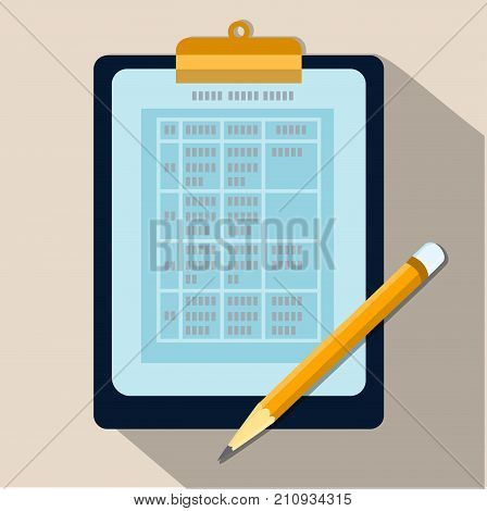 Table of data on Clipboard and pencil Business document on sheet of paper with pen. Sign document writing contract review paperwork dictation concepts. Flat vector illustration.