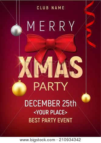 Christmas party poster template. Christmas gold balls and red bow flyer decoration invitation banner.