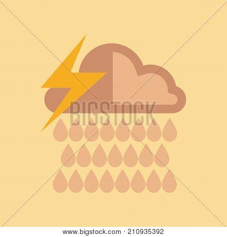 flat icon on stylish background nature thunderstorm rain cloud