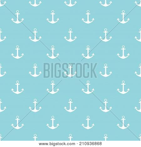 pattern with anchors on blue striped background seamless marine background with anchors
