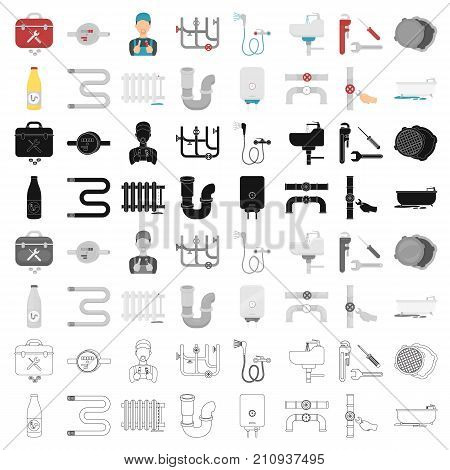 Plumbing set icons in cartoon style. Big collection of plumbing vector symbol stock