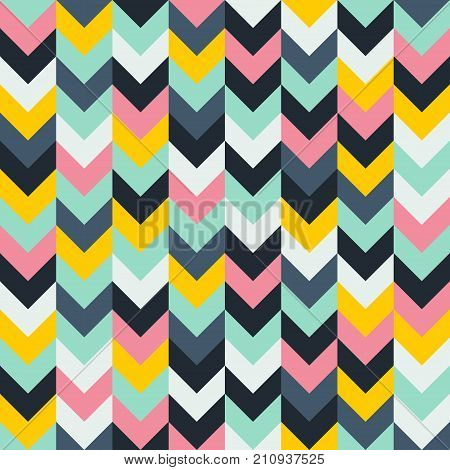 Chevron zigzag pattern seamless vector arrows geometric design in mixed order colorful white pink light blue grey aqua yellow black