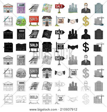 Real estate agency and other attributes. Realtor set collection icons in cartoon style vector symbol stock illustration .