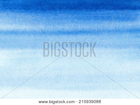 Marine or navy blue watercolor gradient fill background. Watercolour stains. Abstract painted template with paper texture. Blue sea or sky background