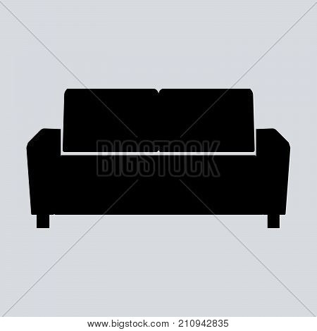 Sofa vector illustration isolated on gray background. Soft sofa icon. Old style sofa icon. Divan sofa vector icon. EPS