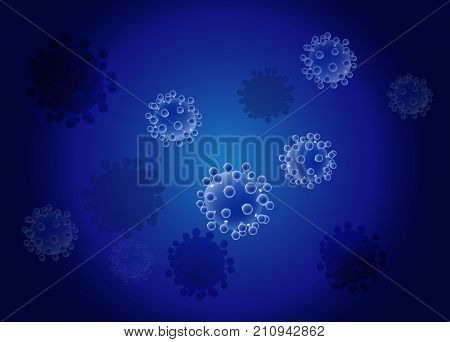 Realistic virus vector on blue background. Hepatitis HIV viruses. Bacteria.